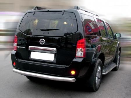 """Nissan Pathfinder 2005-2009г.в.-Защита заднего бампера """"труба""""d-76"""